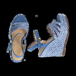 Sandali azzurri in rafia, zeppa 12 cm , Zapatos, 154978888RFAZZU038, 003 preview