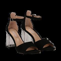 Sandali neri in microfibra, tacco a trapezio in plexi 8,50 cm , Primadonna, 132708233MFNERO036, 002a