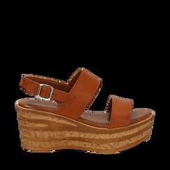 Sandali platform cuoio in eco-pelle, zeppa 8 cm , Primadonna, 13A133255EPCUOI035, 001a