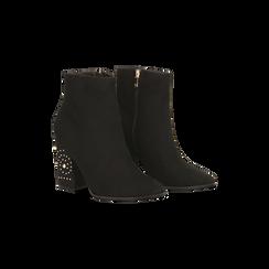 Tronchetti neri con mini-borchie, tacco 9,5 cm, Scarpe, 122186683MFNERO, 002 preview