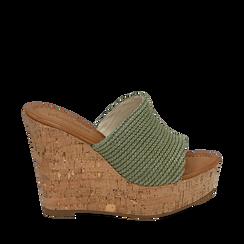 Ciabatte verdi in rafia, zeppa 12 cm , Zapatos, 154979822RFVERD037, 001a