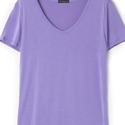 T-shirt con scollo a V lilla in tessuto, Saldi Estivi, 13F750713TSLILLL, 002a