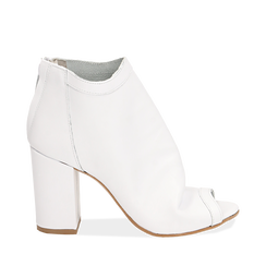 Botines open toe en vitello color blanco, tacón 9 cm, Zapatos, 15A217014VIBIAN035, 001a