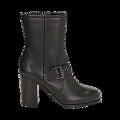 Ankle boots neri in pelle, tacco 9 cm , Primadonna, 14F114002PENERO036, 001 preview
