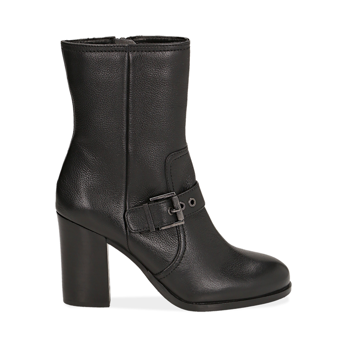Ankle boots neri in pelle, tacco 9 cm , Primadonna, 14F114002PENERO036