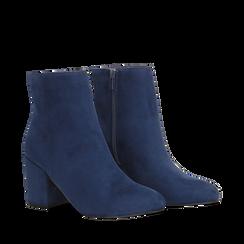 Ankle boots blu in microfibra, tacco 7,5 cm, Stivaletti, 142762715MFBLUE035, 002a