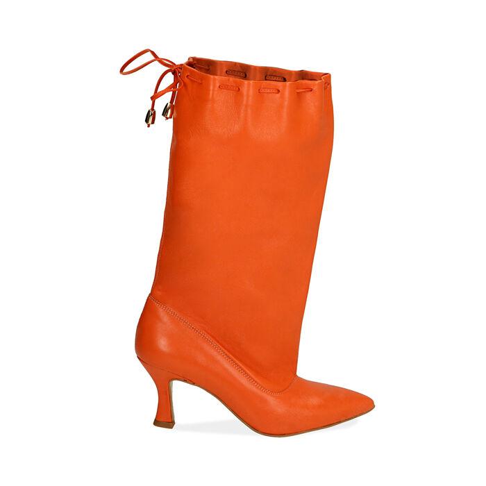 Bottes en cuir orange, talon de 7,5 cm, Primadonna, 17A506766PEARAN036