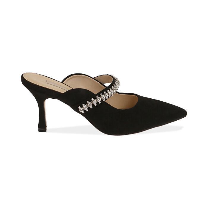 Sabot gioiello neri in microfibra, tacco 8 cm , Scarpe, 172119085MFNERO035