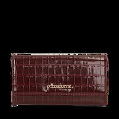 Portafogli bordeaux in eco-pelle effetto cocco , Borse, 142200898CCBORDUNI, 001a