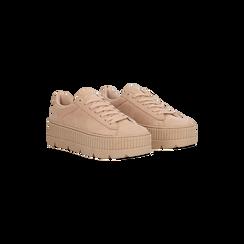 Sneakers rosa nude con suola extra platform zigrinata, Scarpe, 122618776MFNUDE, 002 preview