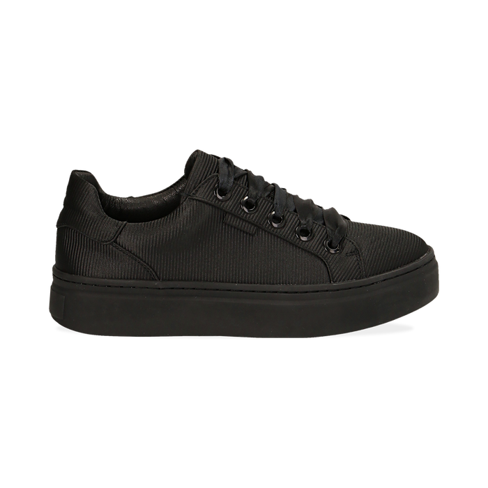 Sneakers nere in tessuto, suola 4 cm, Scarpe, 142509512TSNERO036