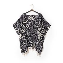 Poncho leopard in tessuto , Abbigliamento, 13B445069TSLEOPUNI, 001a