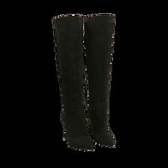 Stivali neri in microfibra, tacco 10 cm, Primadonna, 16G890321MFNERO035, 002a