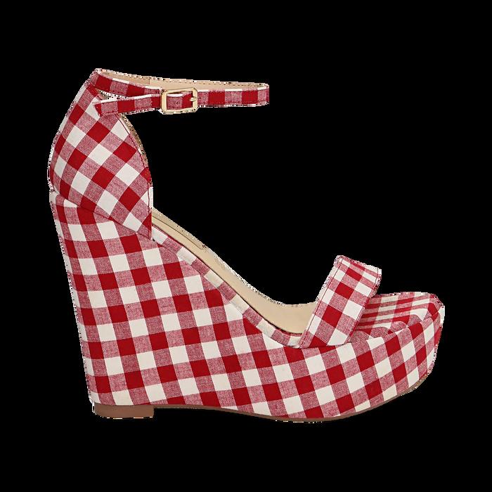 Sandali bianco/rossi in tessuto Vichy, zeppa 13 cm, Scarpe, 132117220TSBIRO035