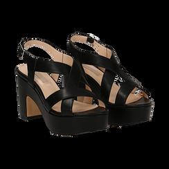 Sandali con plateau neri in eco-pelle, tacco 9 cm , Sandali con tacco, 138402258EPNERO037, 002 preview