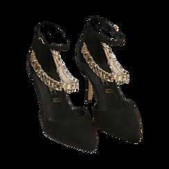 Décolleté gioiello nere in microfibra, tacco 9 cm , Primadonna, 152106650MFNERO036, 002 preview