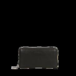 Portafoglio nero in ecopelle  con 14 vani, Saldi, 122200896EPNEROUNI, 001a