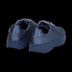 Sneakers celesti in tessuto, suola 4 cm, Scarpe, 142509512TSCELE036, 004 preview