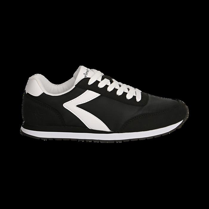 Sneakers nere in tessuto, design aerodinamico, Scarpe, 132619024TSNERO036