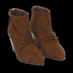 Ankle boots marroni in microfibra, tacco 7,50 cm , Primadonna, 160598311MFMARR035, 002a