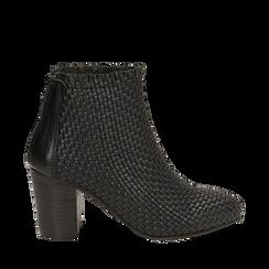 Botines en eco piel trenzada color negro, tacón 7,50 cm, Zapatos, 15C515018PINERO036, 001a