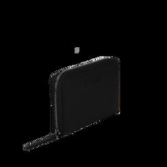 Portafoglio nero in eco-pelle a tre scomparti, Borse, 133723501EPNEROUNI, 002a