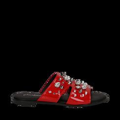 Mules rosse in vernice con borchie, Primadonna, 113051322VEROSS036, 001a
