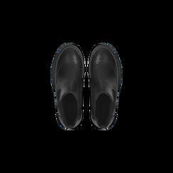 Chelsea Boots neri in vera pelle, tacco basso, Scarpe, 127723704VINERO, 004 preview