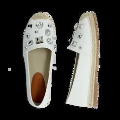Espadrillas bianche in eco-pelle con gemme, Saldi Estivi, 134921159EPBIAN036, 003 preview
