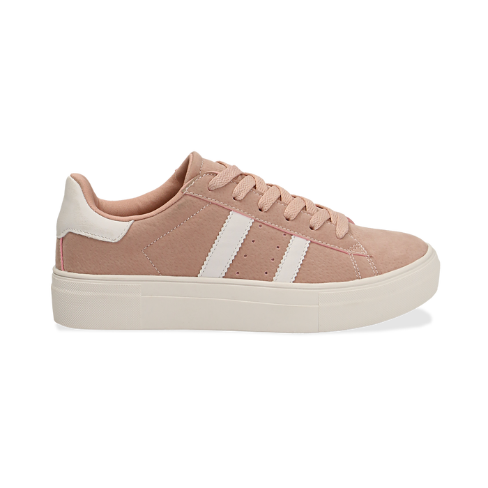 Sneakers rosa in microfibra stile vintage Seventies, Scarpe, 130101157MFROSA036