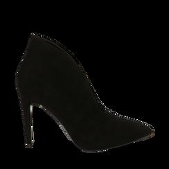 Ankle boots neri in microfibra, tacco 10,50 cm , Primadonna, 162123746MFNERO036, 001a