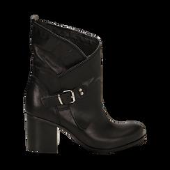 Ankle boots neri in vera pelle, tacco 9 , Scarpe, 135600421PENERO036, 001 preview