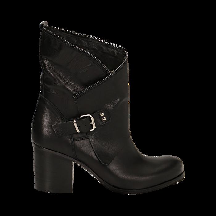 Ankle boots neri in vera pelle, tacco 9 , Scarpe, 135600421PENERO036