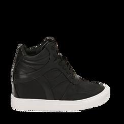 Sneakers nere in eco-pelle, zeppa interna 7 cm , Scarpe, 142008353EPNERO036, 001a