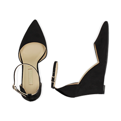 Décolleté en microfibra color negro, cuña 8,5 cm , Zapatos, 152151841MFNERO038, 003 preview