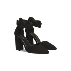 Décolleté nere con maxi cinturino, tacco 9 cm, Scarpe, 124895575MFNERO, 002 preview