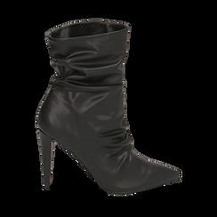 Ankle boots drappeggiati neri in eco-pelle, tacco 10 cm , Stivaletti, 142152925EPNERO035, 001a