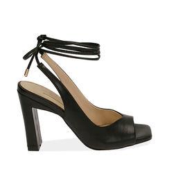 Sandalias negras con cordones, tacón 9,50 cm, 172183672EPNERO037, 001a