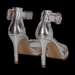Sandali argento in laminato, tacco stiletto 10 cm , Saldi Estivi, 132127405LMARGE037, 004 preview