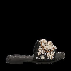Ciabatte nere in rafia con conchiglie, Zapatos, 15K904446RFNERO036, 001a
