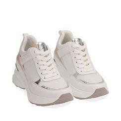 Sneakers bianche, zeppa 9 cm , Scarpe, 172892138EPBIAN037, 002a