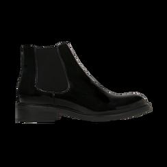 Chelsea Boots neri vernice con tacco basso, Primadonna, 120618208VENERO, 001 preview