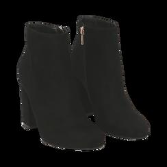 Ankle boots neri in microfibra, tacco 9 cm , Stivaletti, 142708221MFNERO036, 002 preview