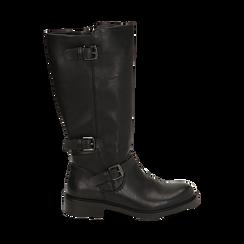 Biker boots con fibbie neri in eco-pelle, tacco 3,5 cm , Primadonna, 14A776168EPNERO035, 001a