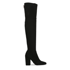 Stivali sopra il ginocchio scamosciati neri, tacco 9,5 cm, 122186681MFNERO036, 001a