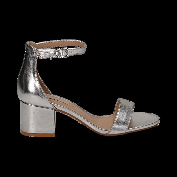 Sandali argento in laminato, tacco 5,50 cm , Sandali con tacco, 132707031LMARGE036