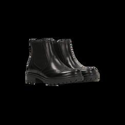 Chelsea Boots Eleganti in Pelle Nera, Scarpe, 127710620PENERO035, 002