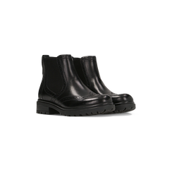 Chelsea Boots eleganti in vera pelle nera, Scarpe, 127710620PENERO, 002 preview