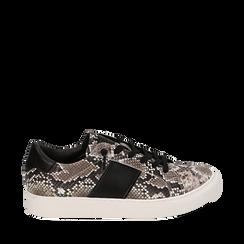 Sneakers blanc/noir imprimé python, Primadonna, 162619071PTBINE040, 001a