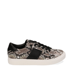 Sneakers bianco/nere stampa pitone, Primadonna, 162619071PTBINE035, 001a
